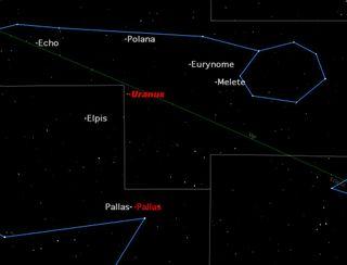 Asteroid Pallas in Night Sky