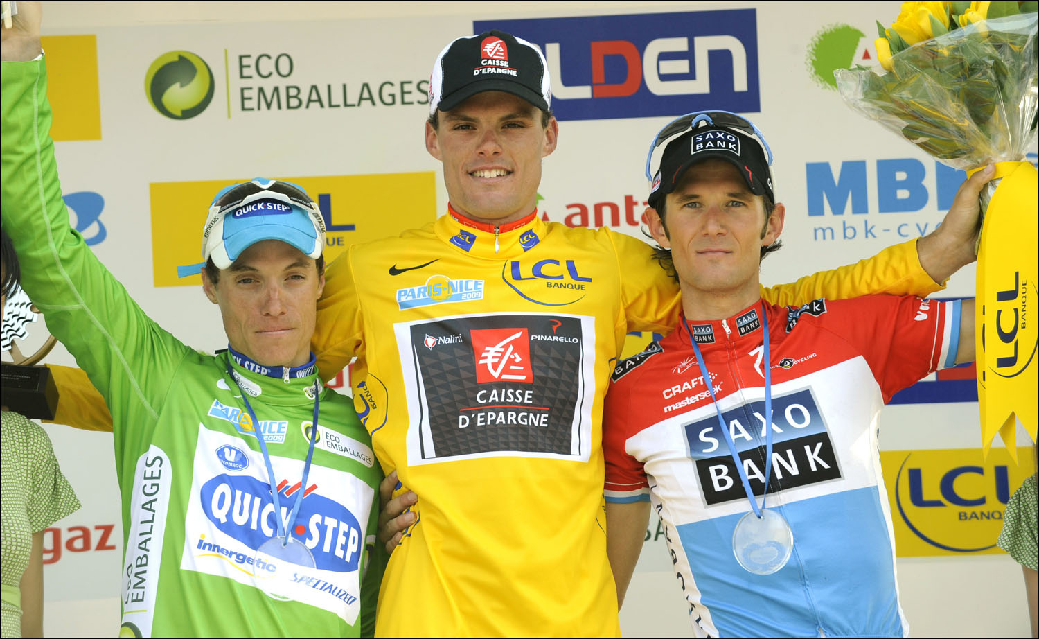 Final podium (l-r): Sylvain Chavanel (third), Luis Leon Sanchez (winner), Frank Schleck (second)
