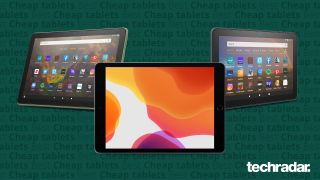 A selection of the best cheap tablets including Apple iPad 10.2 (2019), Amazon Fire HD 8 Plus (2020) and Amazon Fire HD 10 (2019)
