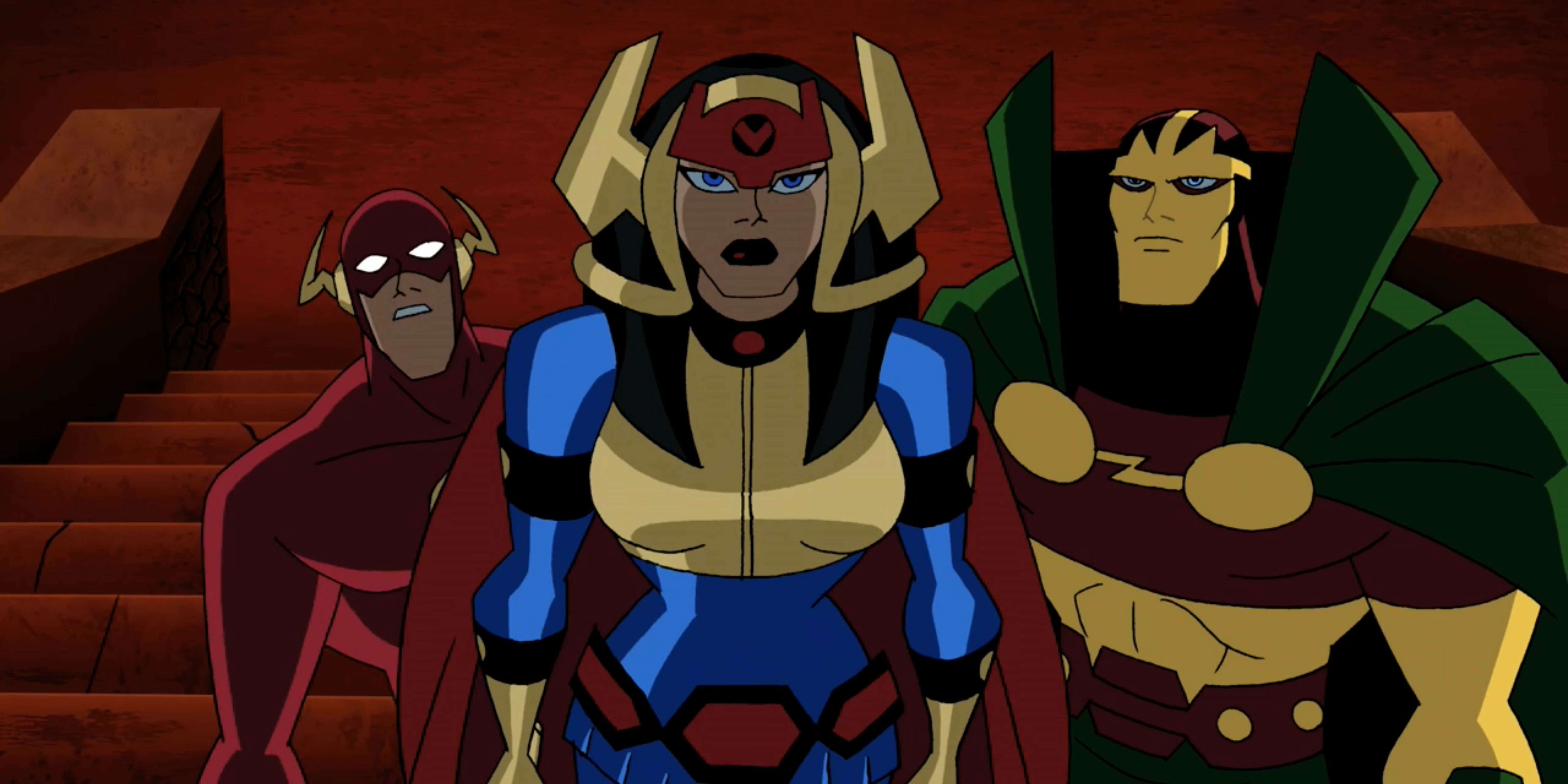 Big Barda, Mister Miracle, and The Flash.