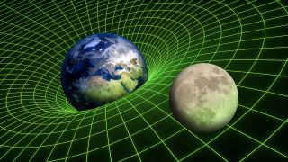 Illustration depicting the gravitational field between Earth and the moon.