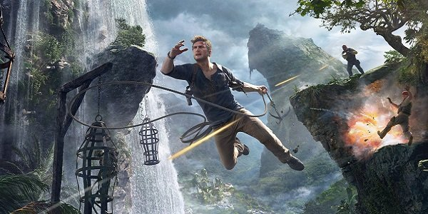 Nathan Drake swings through the jungle in Uncharted 4.
