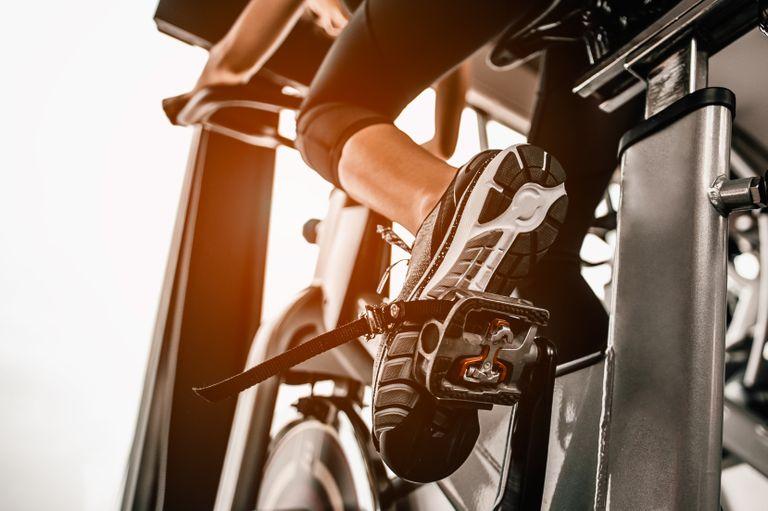 Best exercise bike: Shutterstock image of foot on pedal of bike