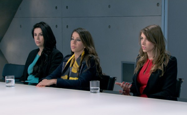 Elle, Vana and Jenny in the boardroom