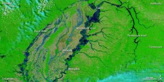 This image, acquired on May 5, 2011, shows the substantially swollen river, from north of Cairo to south of Memphis.