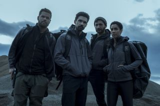 """From left, West Chatham as Amos, Steven Strait as Holden, Cas Anvar as Alex and Dominique Tipper as Naomi in Season 4 of """"The Expanse."""""""