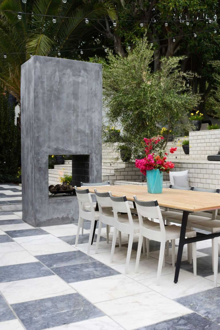 patio ideas with chic outdoor fireplace