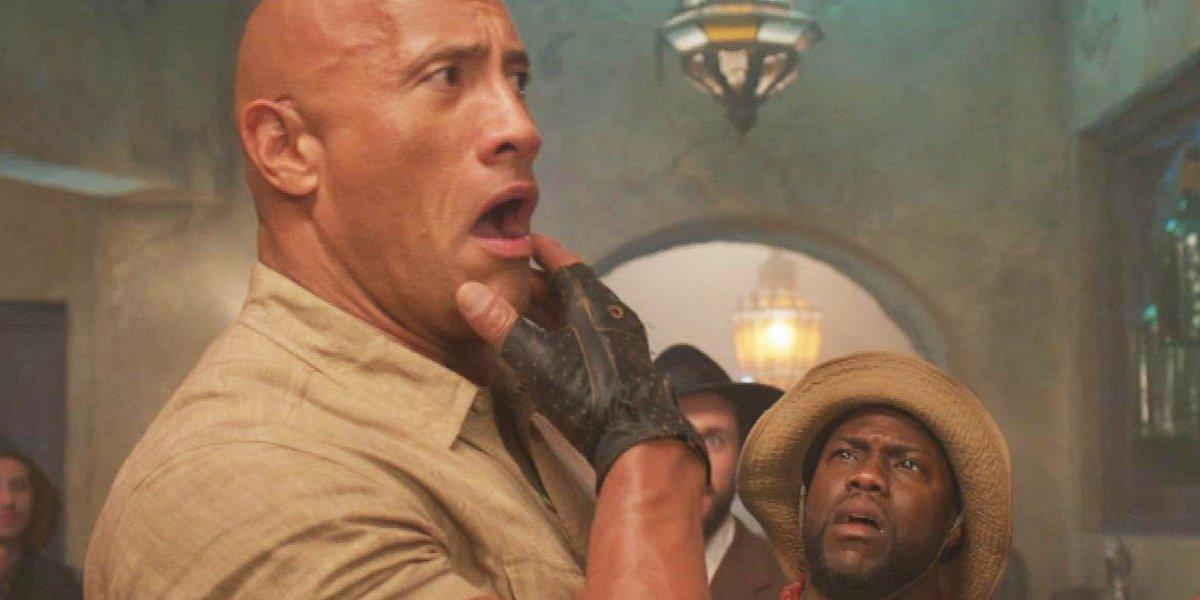 Jumanji: The Next Level Dwayne Johnson and Kevin Hart look surprised