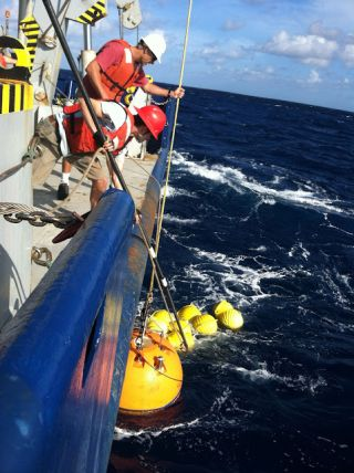 researchers check to see how underwater waves affect the mixing of ocean waters and nutrients