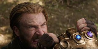 Captain America holding back Thanos