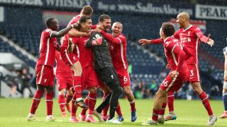 How to watch Liverpool in the Premier League - Liverpool celebrate Alisson Becker's goal against West Brom in the Premier League 2020/21