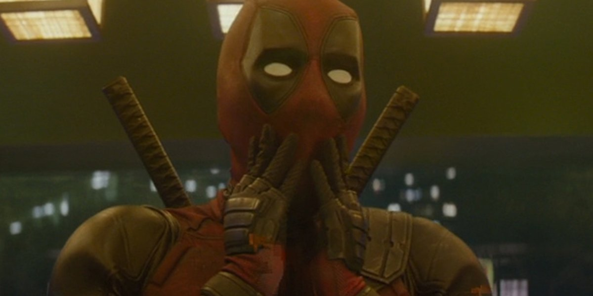 Deadpool shocked face in Deadpool 2