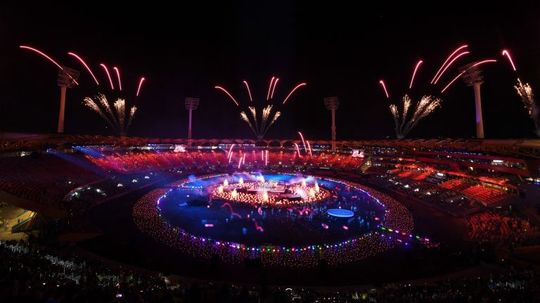 A general view of fireworks during the Closing Ceremony for the Gold Coast 2018 Commonwealth Games at Carrara Stadium on April 15, 2018