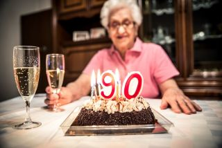 A woman celebrates her 90th birthday.