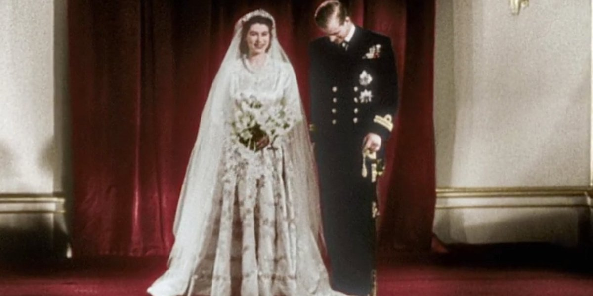 The Queen of England on her wedding day in Britain in Color.
