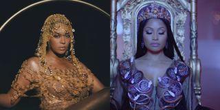 Beyonce in Black is King and Nicki Minaj in No Frauds music video