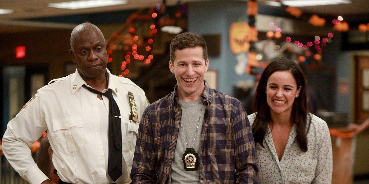 Andy Samberg, Andre Braugher, and Melissa Fumero in Brooklyn Nine-Nine