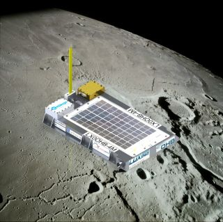 Artist's concept of the 4M mini-spacecraft, which is scheduled to launch on a trip around the moon on Oct. 23, 2014 aboard a Chinese Long March rocket.