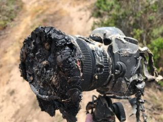NASA photographer Bill Ingalls posted this photo of his melted Canon camera after it was destroyed by a brush fire sparked by a SpaceX Falcon 9 rocket launch at Vandenberg Air Force Base in California on May 22, 2018. The Falcon 9 launched NASA's twin GRA