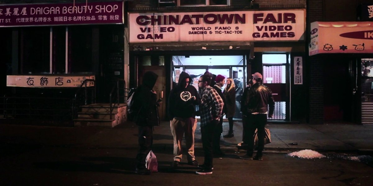 Arcade enthusiasts wait in front of Chinatown Fair in The Lost Arcade