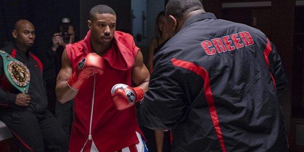 Creed II Michael B. Jordan striking a pre-fight pose during warming up.