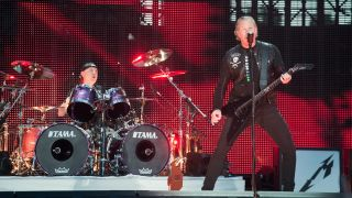 James Hetfield and Lars Ulrich from Metallica perform at Stade de France on May 12, 2019 in Paris, France
