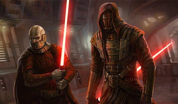 Darth Malak and Darth Revan wielding lightsabers