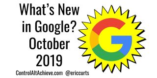 "Illustration: what's New in Google with Google October 2019 with ""G"" in sunburst"