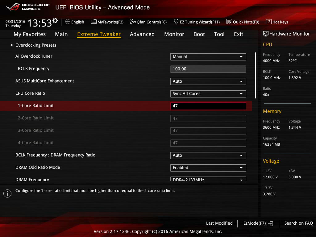 Shot of the overclocking page from the BIOS of an Asus motherboard