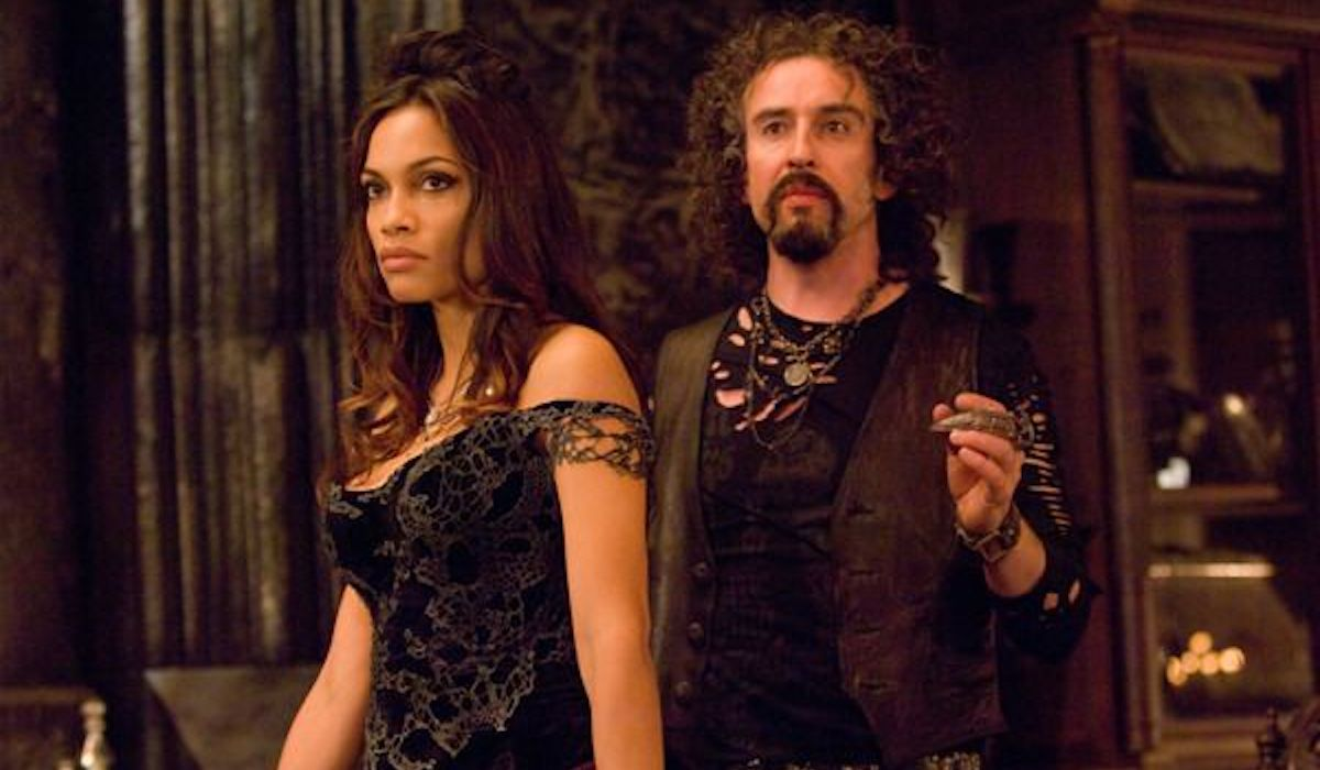 Rosario Dawson as Persephone and Steve Coogan as Hades in Percy Jackson