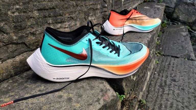 Nike ZoomX Vaporfly NEXT% review: shoes laid out on steps