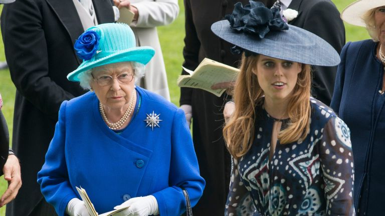 Princess Beatrice and Queen Elizabeth II attend day 5 of Royal Ascot at Ascot Racecourse on June 18, 2016 in Ascot, England