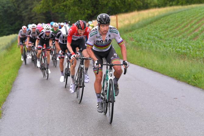 Peter Sagan attacks near the end of stage 3 at Tour de Suisse
