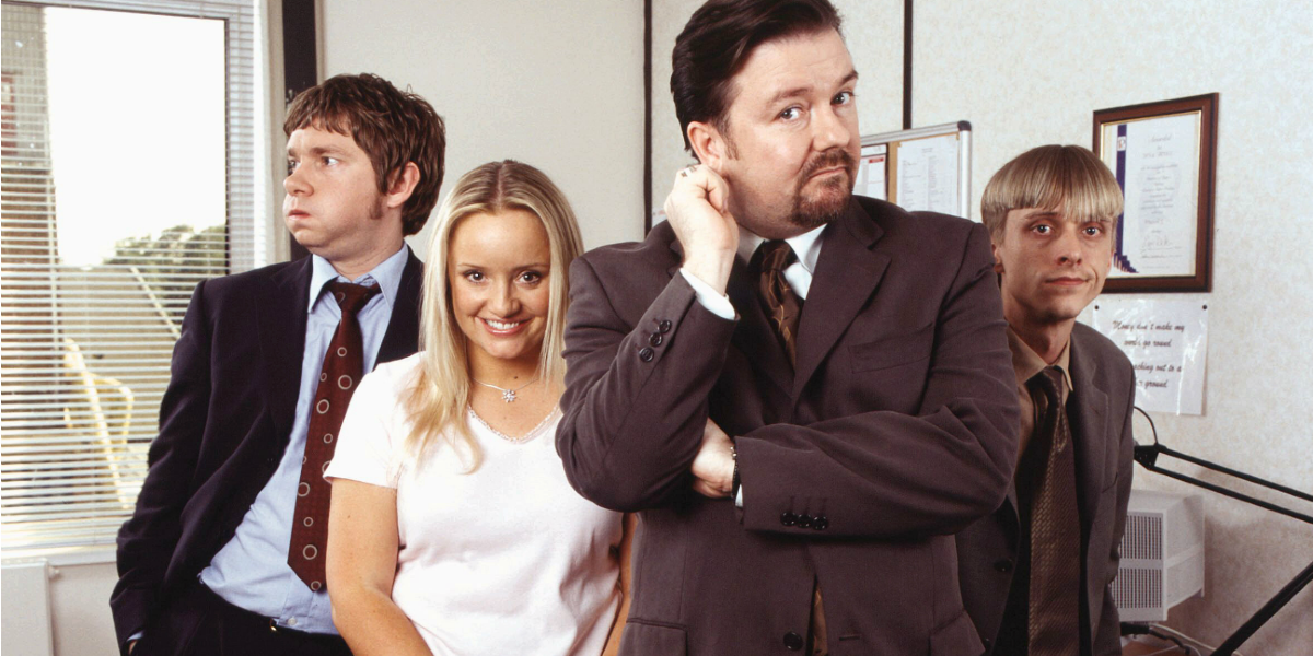 Ricky Gervais, Marin Freeman, Mackenzie Crook, and Lucy Davis in the Ofice uK