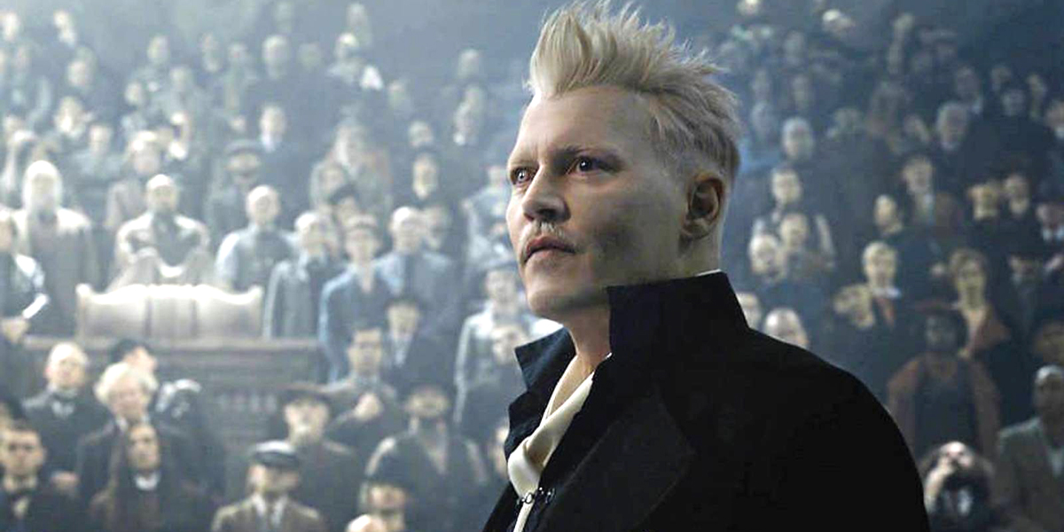 Johnny Depp as Gellert Grindelwald facing crowd Fantastic Beasts: The Crimes of Grindelwald Warner B
