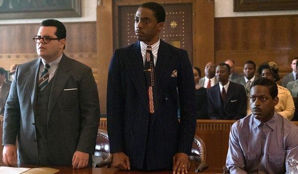 Marshall Josh Gad Chadwick Boseman risen in the courtroom