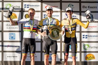 Second-placed Rohan Dennis (Team Ineos), winner Luke Durbridge (Mitchelton-Scott) and third-placed Chris Harper of Jumbo-Visma on the podium following the elite men's time trial at the 2020 Australian Road Championships