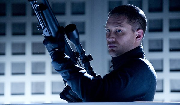 This Means War Tom Hardy readies a sniper rifle on a roof