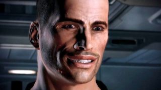 Commander Shepard grins unnervingly.