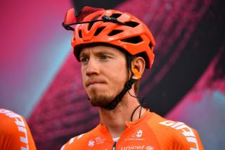 ROCCARASO ITALY OCTOBER 11 Start Ilnur Zakarin of Russia and CCC Team Team Presentation during the 103rd Giro dItalia 2020 Stage 9 a 207km stage from San Salvo to Roccaraso Aremogna 1658m girodiitalia Giro on October 11 2020 in Roccaraso Italy Photo by Stuart FranklinGetty Images