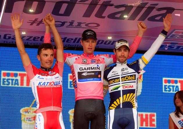 Joaquin Rodriguez (l), Ryder Hesjedal (winner) and Thomas De Gendt (r),, Giro d'Italia 2012, stage 21