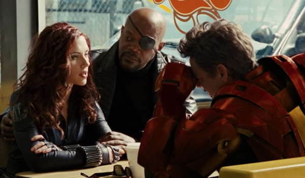 Scarlett Johansson as Black Widow, Samuel L. Jackson as Nick Fury and Robert Downey Jr as Iron Man i
