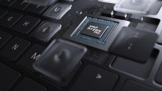 AMD Ryzen Pro chip surrounded by keyboard