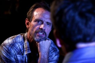 "Michael Biehn on the set of ""The Victim."""
