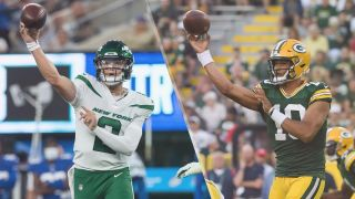 Jets vs Packers live stream — Zach Wilson of New York Jets and Jordan Love of Green Bay Packers