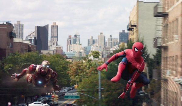 Spider-Man: Homecoming Iron Man and Spider-Man flying through Queens