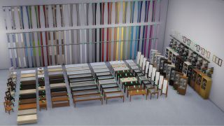 Brand new swatches of curtains and wooden furniture in The Sims 4 next to their old swatches. Green dots indicate which ones are new.