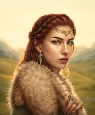 Digital painting portrait of an Elven maiden