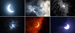 This combination of pictures created on June 21, 2020 shows the moon moving in front of the sun during an annular solar eclipse as seen from (top L to R) Kurukshetra, Allahabad, Bangalore and (bottom L to R) Kolkata, New Delhi, Bangalore on June 21, 2020. (