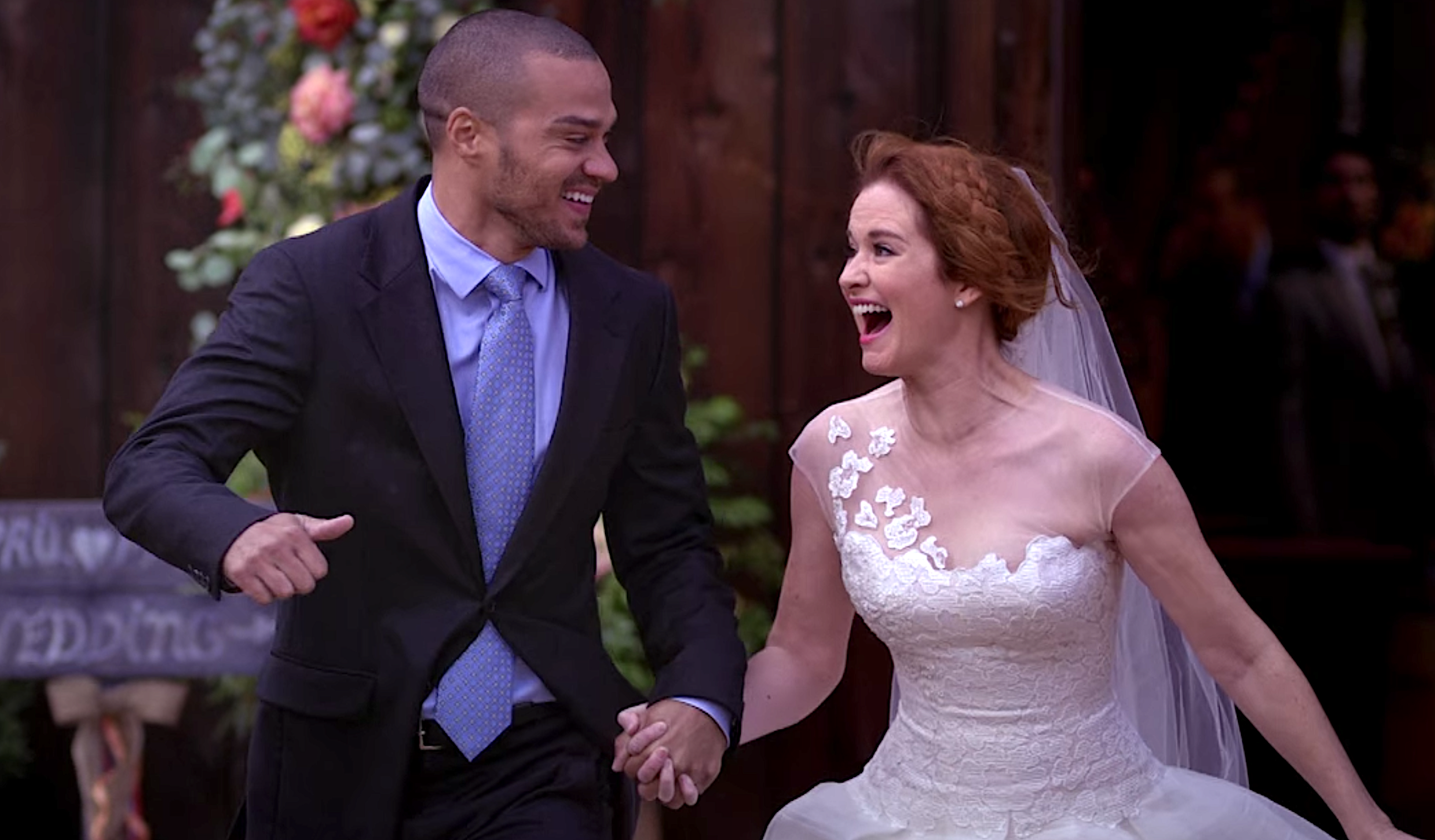 Grey's Anatomy Jackson Avery and April Kepner run out on her wedding to Matthew